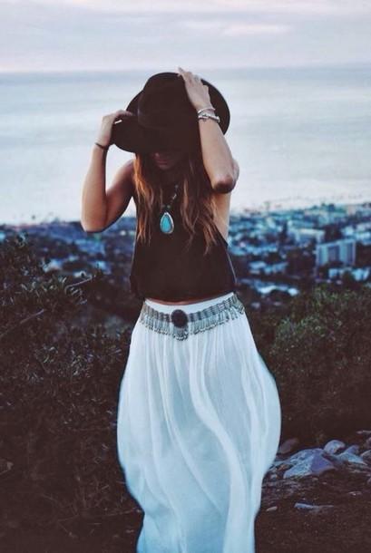 white skirt belt maxi skirt vintage boho boho chic gypsy jewels
