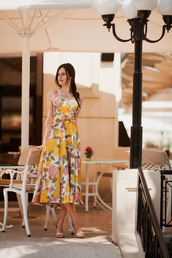 the bow-tie,blogger,dress,shoes,floral dress,yellow dress,maxi dress,summer outfits