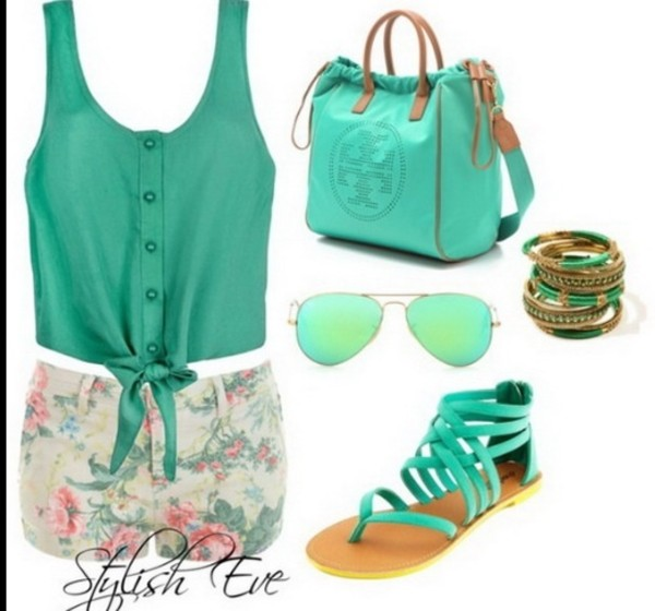 bag so cute! where do i get these? shorts blouse sunglasses shoes jewels