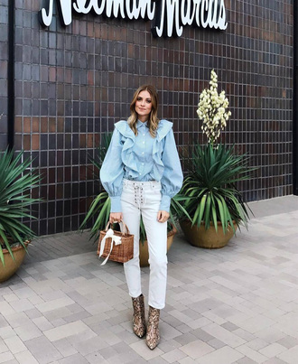 shirt tumblr blue shirt denim jeans white jeans boots ankle boots animal print bag basket bag ruffle ruffle shirt