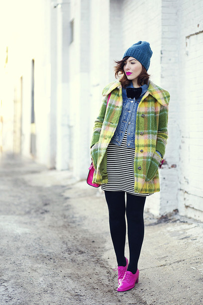 keiko lynn blogger denim jacket winter coat striped dress knitted beanie pink
