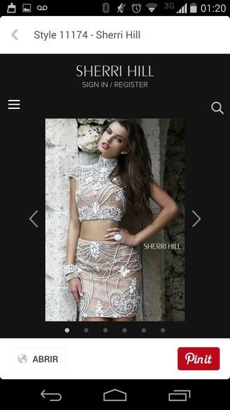 dress nude dress crop top and skirt set