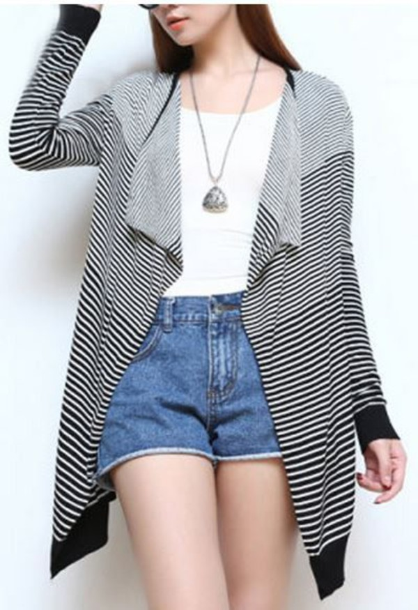 one size black and white stripes sweater waterfall cardigan www.ustrendy.com long sleeve cardigan