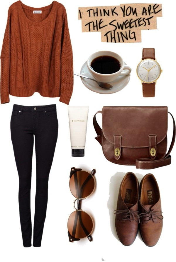 jeans black jeans watch coffee brown shoes sunglasses shoulder bag fall outfits fall outfits bag jewels thanksgiving rust shoes sweater lether vintage purse backpack tank top orange sweater cute outfit orange