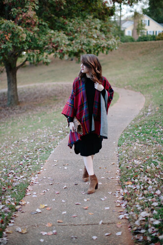 polishedclosets blogger dress shoes bag fall outfits ankle boots scarf midi dress tartan scarf