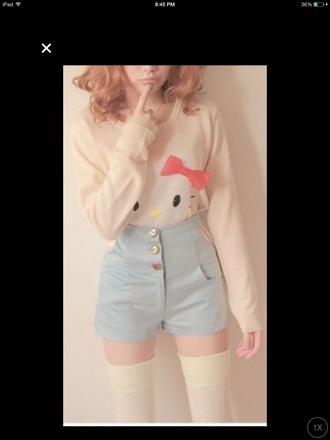 shorts kawaii high waisted shorts pastel