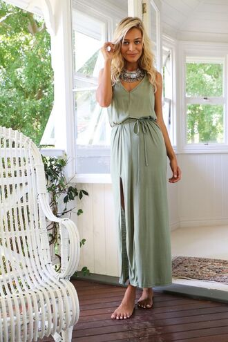 dress green maxi braided strappy