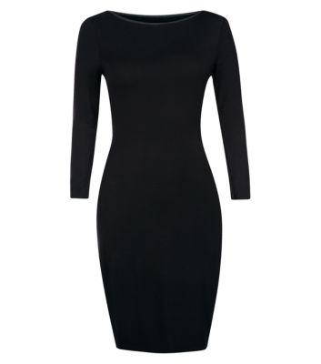 Black Leather-Look Trim Bodycon Dress