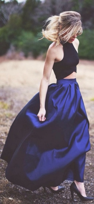 dress two-piece skirt shirt crop formal evening outfits prom prom dress blue prom dress royal blue evening gown elegant dress