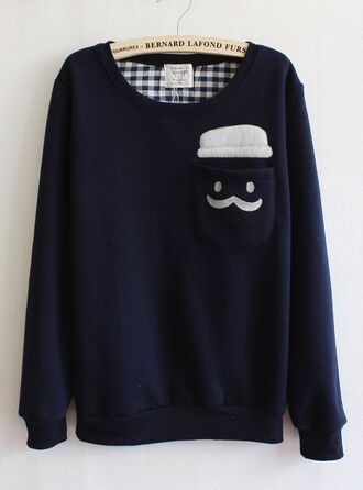 sweater moustache cute