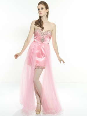 Buy Exquisite Adorable Pink Rhinestones Sheath/Column Sweetheart Neckline High Low Homecoming Dress  under 200-SinoAnt.com
