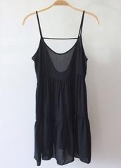 dress,black,little black dress,spaghetti strap,spaghetti straps dress,ruffle,cute