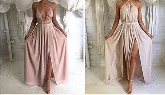 nude color low cut dress dress prom nude dress pretty fancy formal tumblr tumblr dress tumblr girl side split dress beautiful tumblr clothes v neck dress silk maxi dress halter top halter neck heels pumps sandal heels