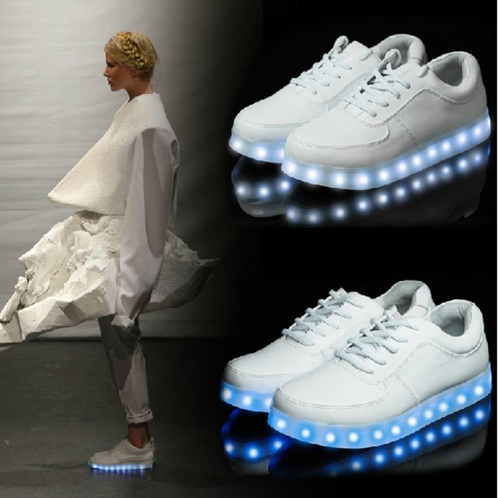 Simulation LED Luminous USB charging men and women picking casual Symphony of towns Elevator shoes Brand Flats Running Sneakers-inFlats from Shoes on Aliexpress.com