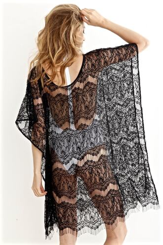 swimwear black lace black cover up peixoto bikiniluxe