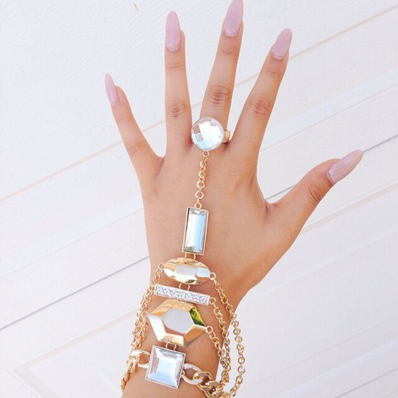 jewels gold ring girly ring girly gold stones ring and bracelet hand jewelry hand chain handcuffs gold braclet stones bracelet stone jewelry