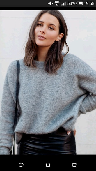 sweater grey sweater loose fit sweater