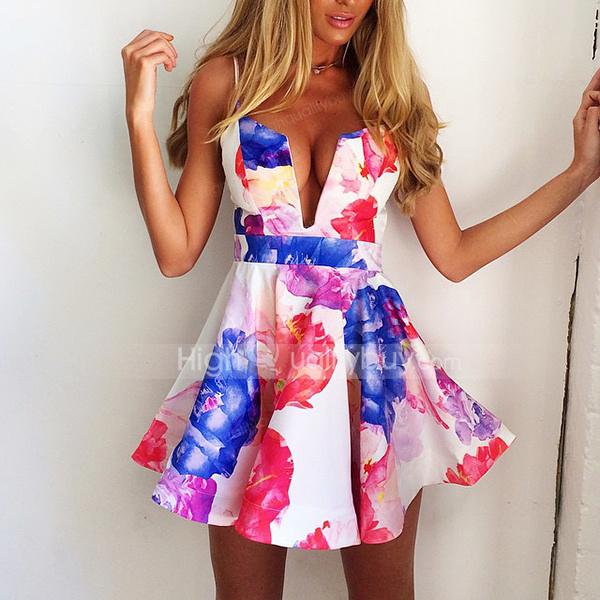 Neck floral print women's strap dress