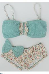 swimwear,blue,bikini,flowers,high waisted,bandeau,bandeau bikini,lace,bows