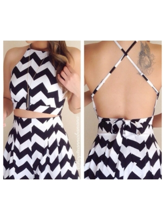 dress dreess black and white ripped back we heart it