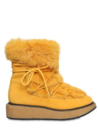 fur boots lace suede yellow shoes