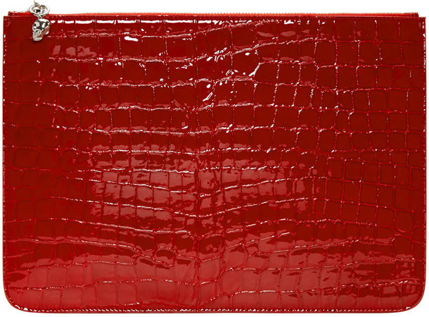 e5200bc70 Alexander Mcqueen Red Croc-embossed Pouch - Wheretoget