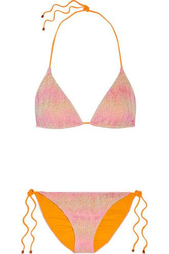 bikini knit metallic pastel pink crochet pastel pink swimwear