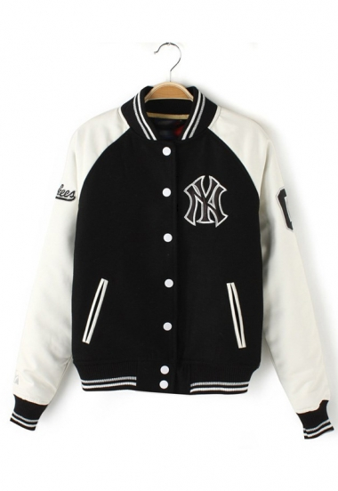 Leather Sleeve Block Baseball Jacket