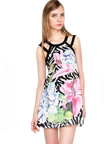 Floral Summer Dress - Tropic Print Dress -$65