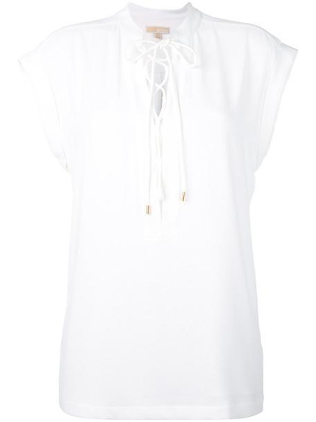 Michael Michael Kors - lace up blouse - women - Polyester/Spandex/Elastane - S, White, Polyester/Spandex/Elastane