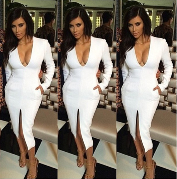 7c8f17774e5f kim kardashian white dress kim kardashian low cut dress v neck dress deep v dress  long