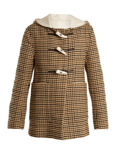 WALES BONNER coat duffle coat wool brown