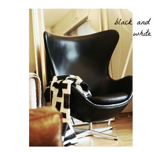 stylista blogger chair black and white blanket bag