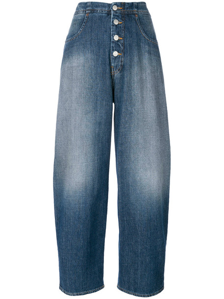 jeans cropped women cotton blue