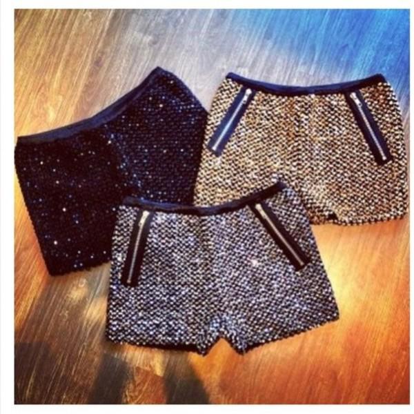 shorts sequin zip hotpants sparkle gold silver black paillette paillettes elegant party zip glitter girly booty shorts set