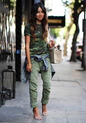 sincerely jules,shoes,jacket,bag,pants,green pants,All military green outfit,military style,t-shirt,green t-shirt,denim jacket,sandals,high heel sandals,white sandals,white bag,blogger,top blogger lifestyle