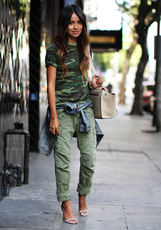 sincerely jules shoes jacket bag pants green pants all military green outfit military style t-shirt green t-shirt denim jacket sandals high heel sandals white sandals white bag blogger top blogger lifestyle