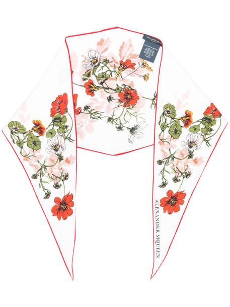 Alexander Mcqueen women scarf floral white print silk