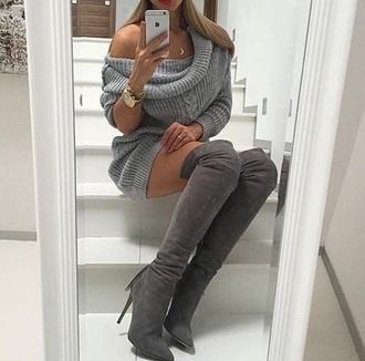 dress grey grey dress sweater dress short dress boots grey boots