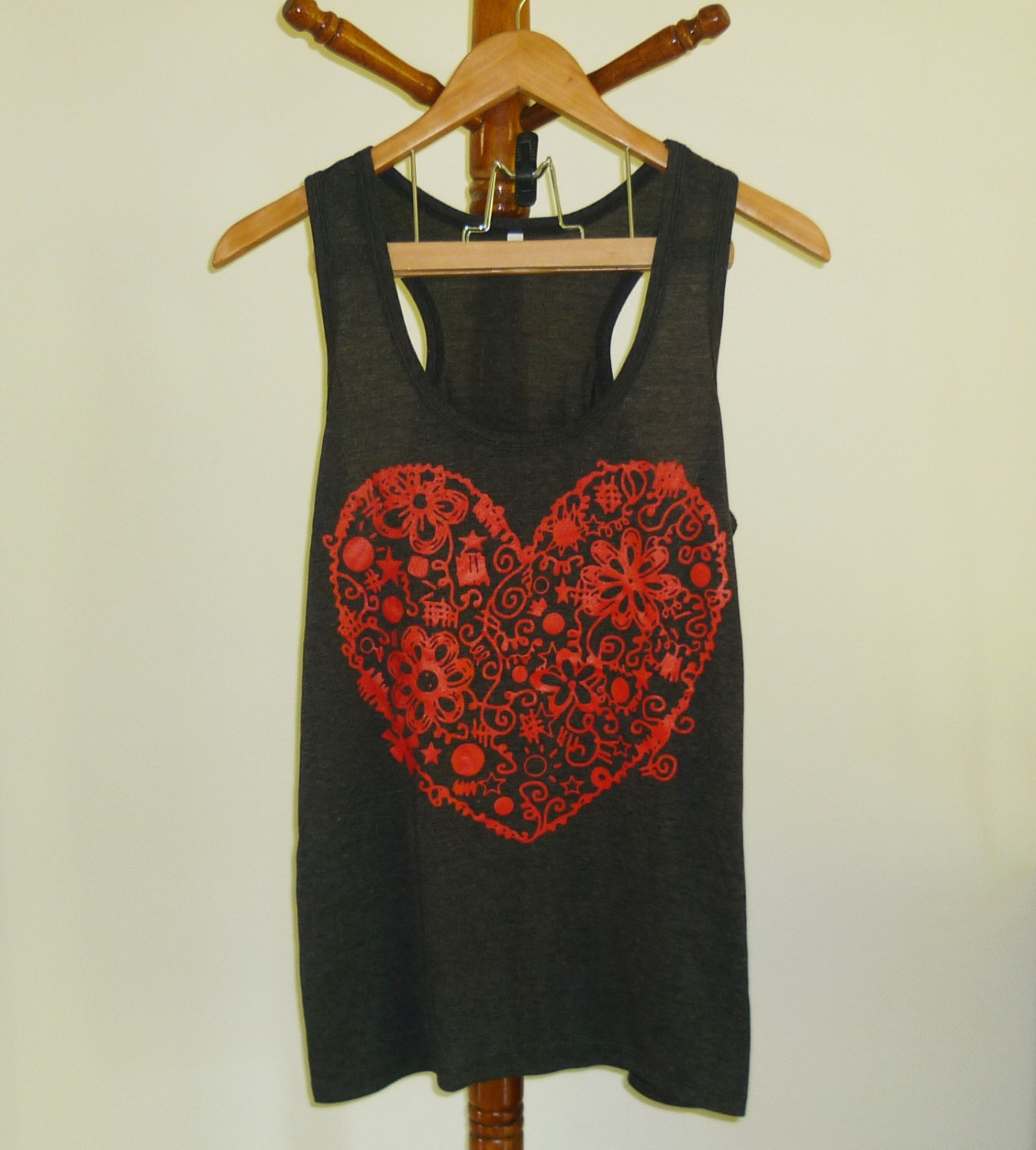 Heart tank top flower graphic shirt size s m l xl xxl light black soft t shirt sleeveless top valentine's day gift ideas summer clothing