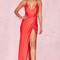 Clothing : max dresses : 'audreyana' red satin wrap maxi dress