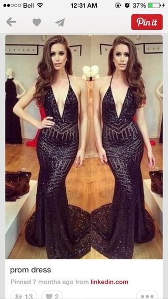 dress michael costello black dress sequin dress plunge v neck long dress