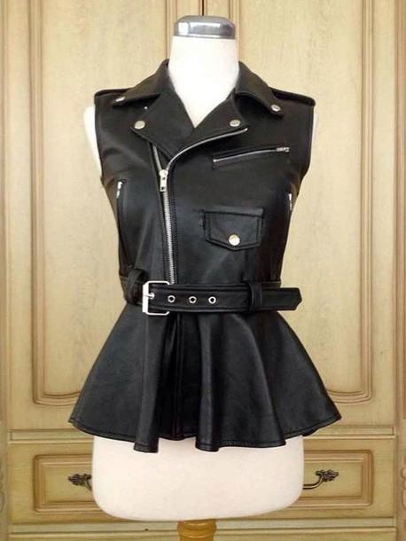 jacket peplum leather moto vest