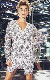 dress,hailey baldwin,model,sequins,sequin dress,silver,metallic,new year dresses