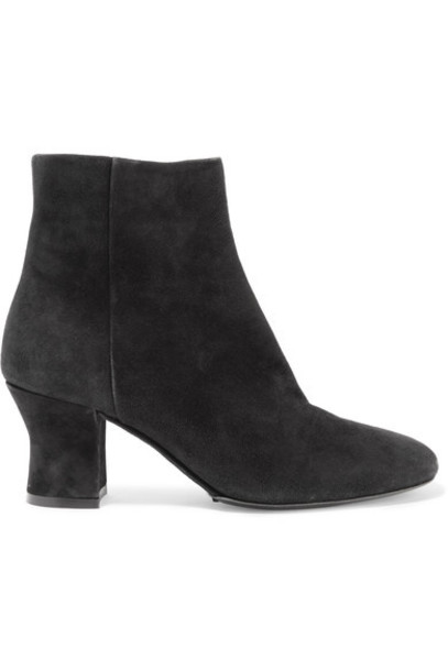 The Row - Ambra Leather Ankle Boots - Black