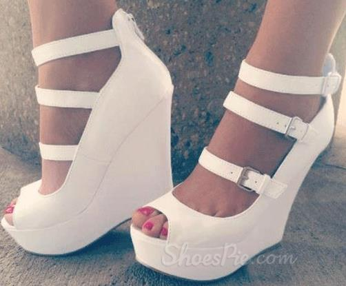 White Coppy Leather Wedge Heel Three Ankle Strap Shoes
