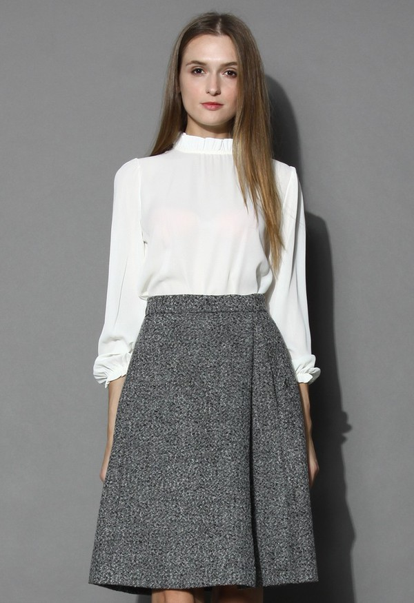 top chicwish ruffle trimmed white crepe top