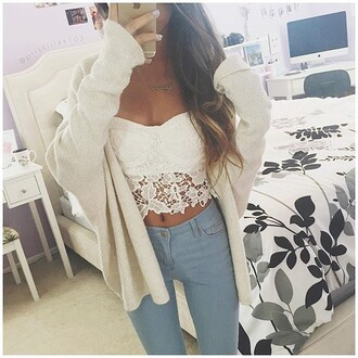 top strapless lace floral white crop tops dress cardigan jeans