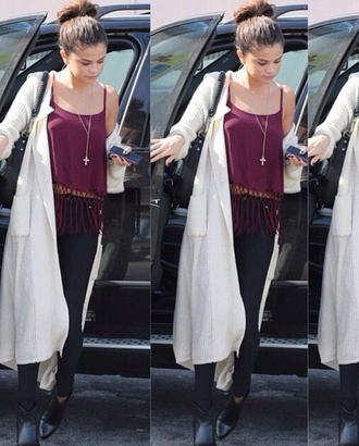 blouse burgundy boho black jeans selena gomez cardigan
