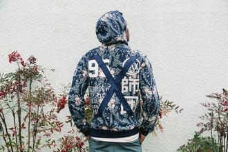 jacket hoodie japanese fashion kanji cherry blossom mens sweater